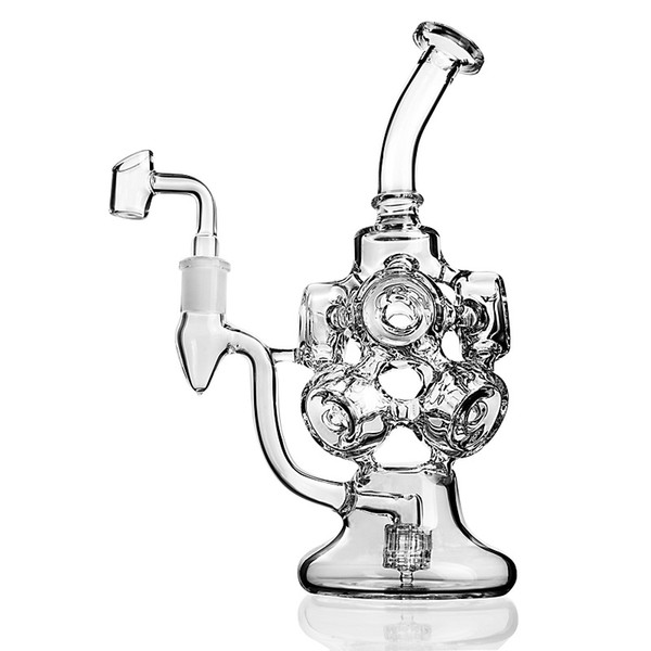 Clear Glass Bong Recycler Glass Water Pipes Triple Cyclone Ball Arm Unique Dab Rigs With 14mm Joint Large Bong Thick Oil Rigs Waterpipe
