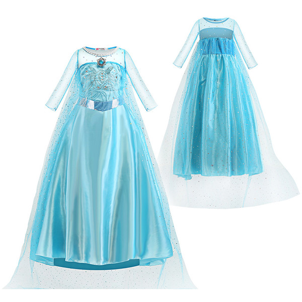 top popular Girls Princess Dress Sequins Diamond Cosplay Costume Stage Performance Kids Clothes Snow Queen Halloween Party Show Dress 06 2021