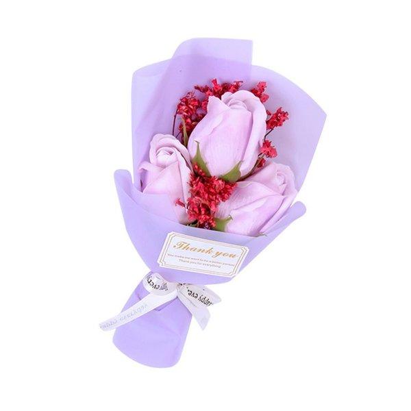 3 purple roses