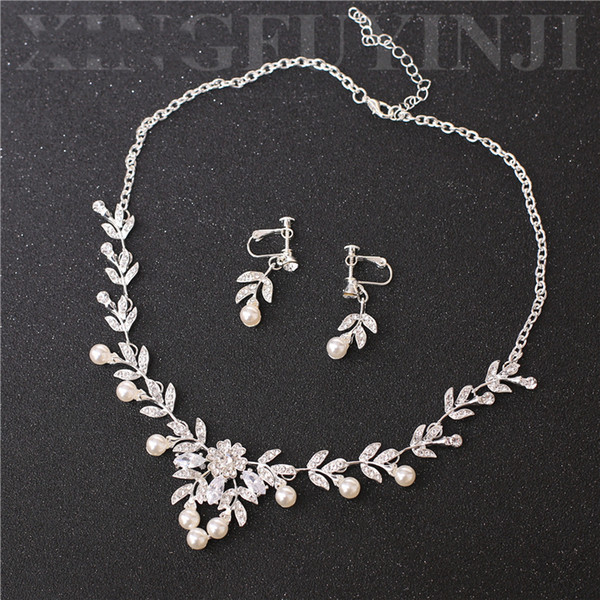 Romantik Gümüş Gelin Takı 2 Parça Setleri Kolye Küpe Gelin Takı Gelin Aksesuarları Düğün Takı T219143