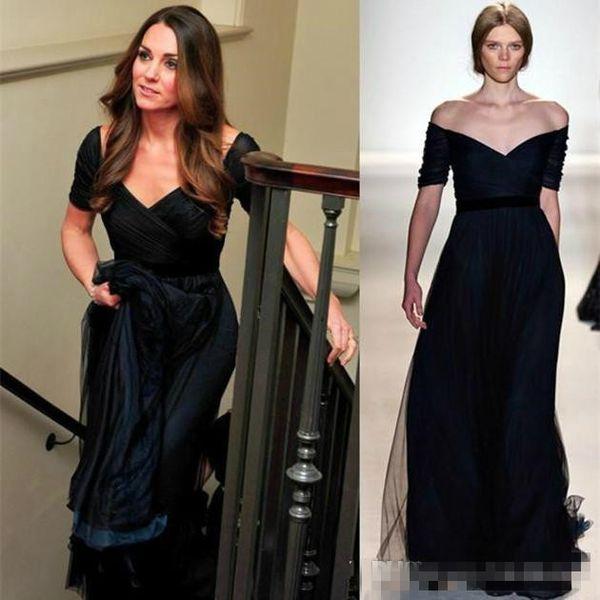 zuhair murad Dress Jenny Packham Kate Middleton Navy Blue TULLE Evening Formal Dresses Short Sleeves Red Carpet Celebrity Prom Party Gowns
