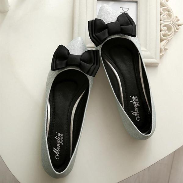 Schuhe Damen Bow Knot Ballerinas Schuhe Plus Size Spitz Loafer Shallow Slip on Slides Frau Schwarz Silber Rose Red Sandal