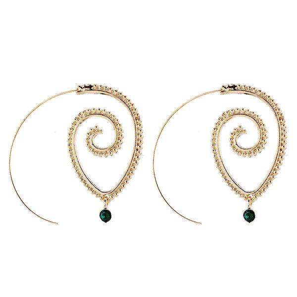 Explosive whirlpool gear-like alloy Agate Earrings elliptical spiral shape exaggerated geometric Earrings European and American Earrings