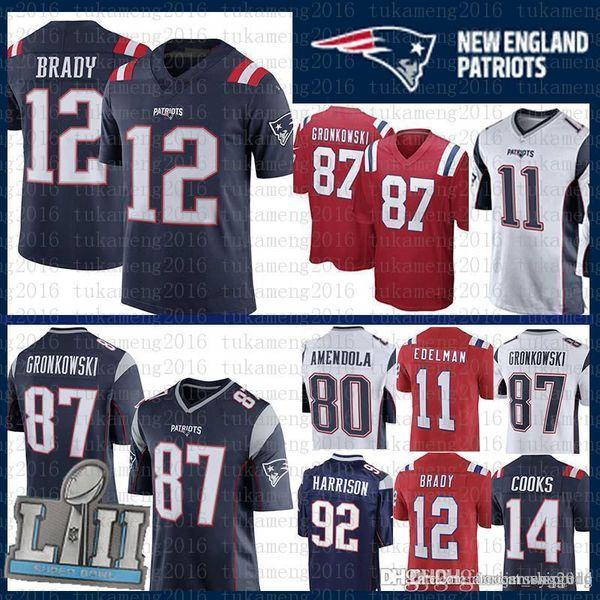 sale retailer 833f1 44c42 2019 Best Quality New #12 Tom Brady Patriots Jersey 11 Julian Edelman Men  80 Danny Amendola 14 Brandin Cooks 92 Harrison 87 Rob Gronkowski Jersey  From ...