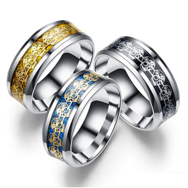 3 Colors 8mm Retro Skull Pattern Stainless Steel Jewelry Love Rings Luxury Ring Engagement Rings Wedding Bands