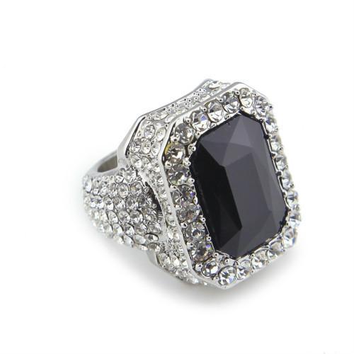 Silver with black gem