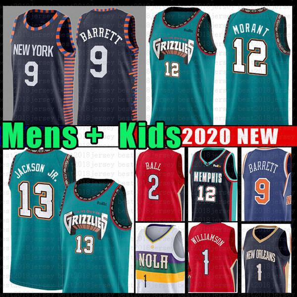 best selling Mens Youth Ja Williamson 12 Morant RJ 9 Barrett Memphis Jersey Grizzlies New JAREN York JACKSON JR. Orleans Knicks Pelicans Ball Knox II