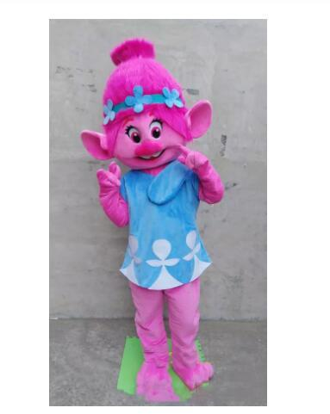 Alta calidad Deluxe Troll Princess Poppy traje de la mascota Troll adulto traje de lujo envío gratis