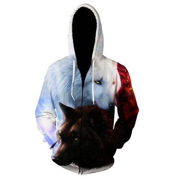 3D animal hoodie men's zipper coat sweatshirt Lion Wolf print coat tracksuit sweatshirt men's jacket hooded shirt streetwear