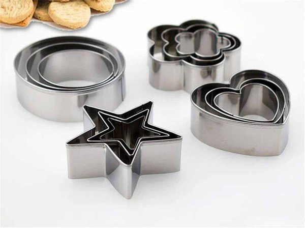 Hot Home 3Pcs setStainless Steel Round Circle Heart Star Cookie Fondant Cake Mold Cutter Pastry Tool Safe Cake Mould Adjustable Baking Cake