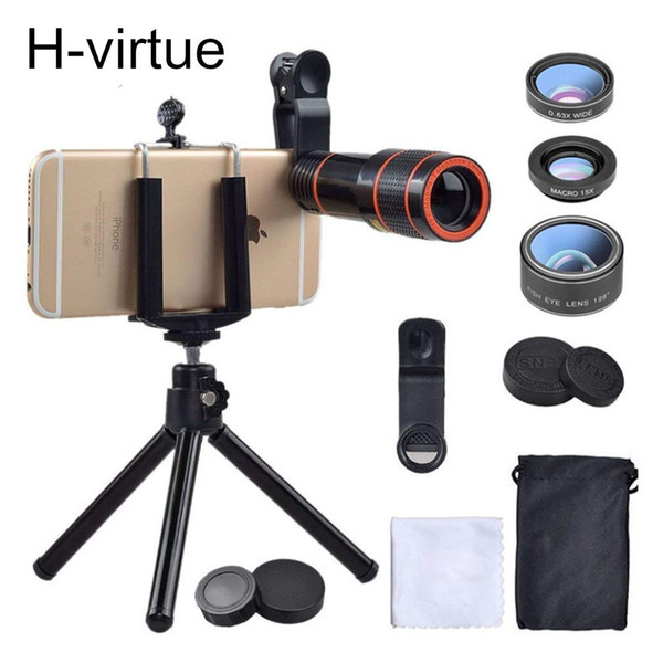 H-virtue Universal 6 in 1 tripod 12X Zoom Telescope Fish eye Wide Angel Macro Lens For iPhone X 8 7 6 5S android smartphone