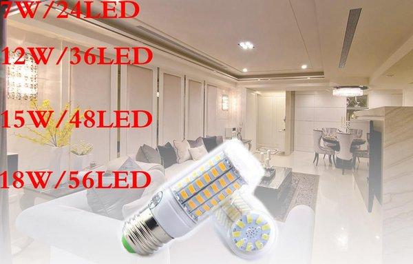 Großhandel! E27 GU10 B22 E12 E14 G9 LED Birnen SMD5730 7W 9W 12W 15W 18W 110V 220V 360 Winkel LED Birne führte Maislicht