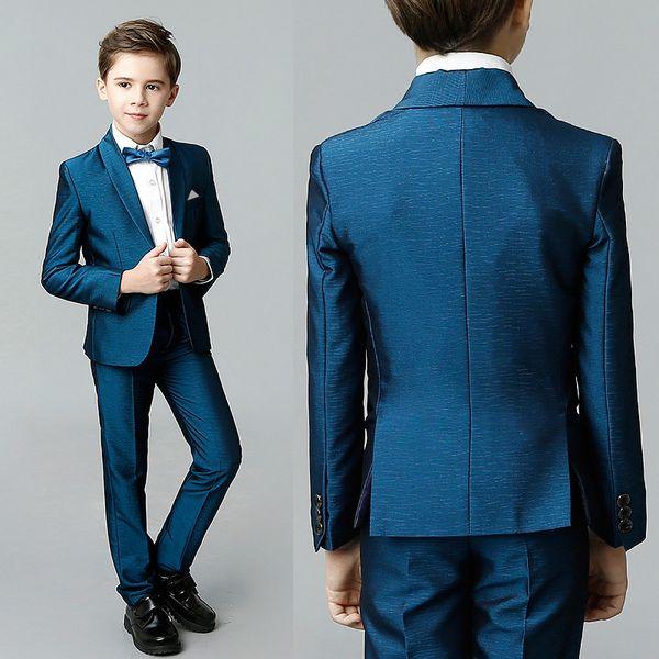 Fashion Blue Boy Suits Shawl Lapel Kids Formal Wedding Tuxedo Blazers Costume Made Prom Suits (Jacket+Pants+Bow)