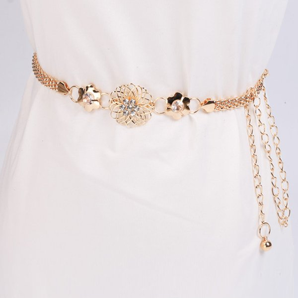 KLV Belt Women's Lady Fashion Metal Chain Gold Color Belt Body Chain Elegant unique Fashion high quality 20190304