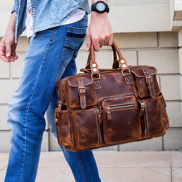 Luufan High Fashion Leather Briefcase Bag Masculino designer bolsas Crazy Horse ombro de couro Negócios Bolsas de 15,6 polegadas Laptop Bag