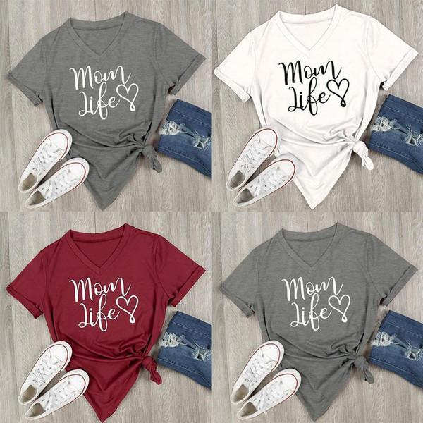 Giyim / Giyim Aksesuarları Yeni Moda Bayan Casual O-Yaka Kısa Kollu Baskılar Basic T-shirtnew