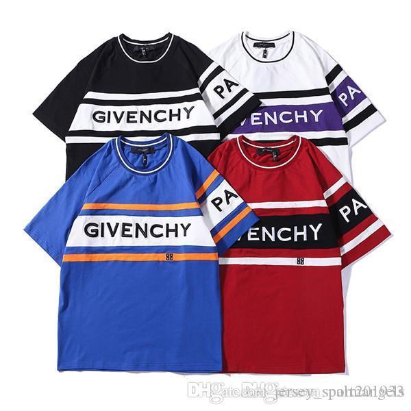 19ss французский бренд моды дизайн груди письмо вышивка большой логотип экипажа шеи футболку мужской женской моды уличной открытый T-s
