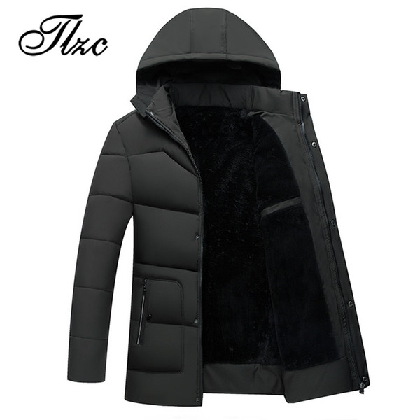 TLZC Winter Male Casual Warm Cotton Padded Windbreaker Plus Size L-4XL Men Winter Fleece Thick Long Jacket Hooded Parka Coats