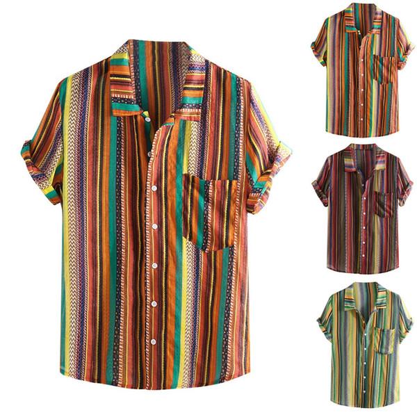 JAYCOSIN Hemden Herren Sommer Hawaii Gestreifte Kurzarm Umlegekragen Herren Top Mit Tasche Strand Beiläufige Lose Hemd Mann May23