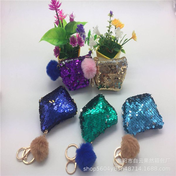 NOVA Sereia Lantejoula Chaveiro Coin Bolsas Com Bonito Bola De Pelúcia Lantejoula Glitter Mini Zipper Fone De Ouvido Moeda Carteira Meninas Presente