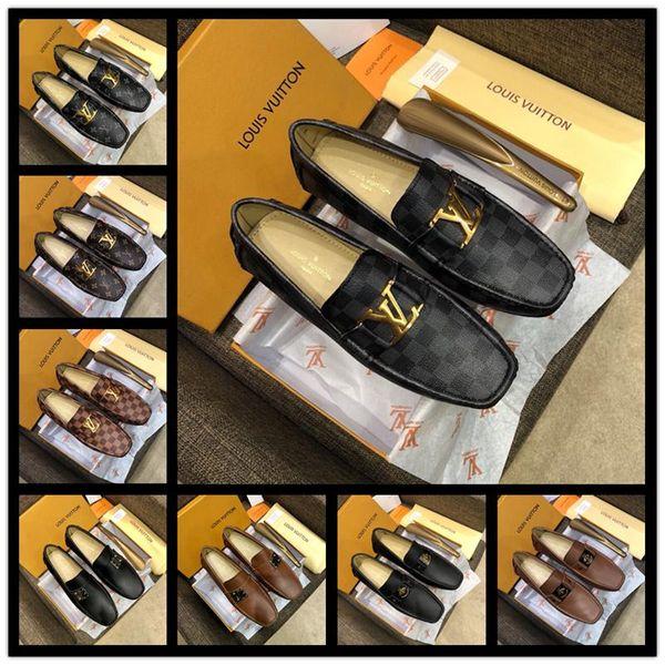 El mejor Hombre de lujo de la marca italiana de cuero Nuevos diseñadores Fiesta clásica Boda Negro Marrón Tamaño 38-46 de los hombres con caja