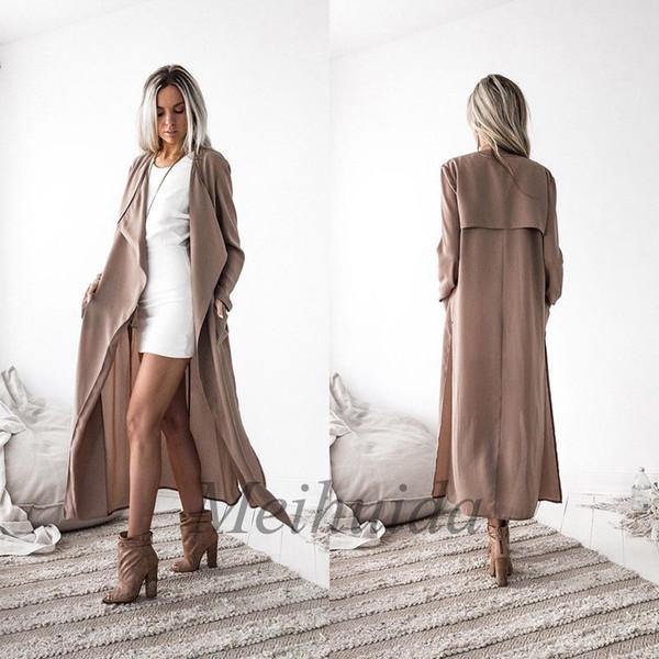 Fashion Women Ladies Long Sleeve Waterfall Cardigan Trench Long Coat Duster Jacket