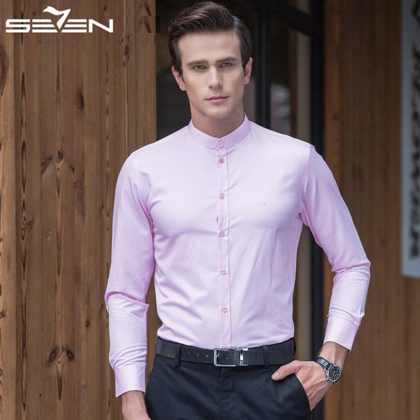 Brand 2019 Mens Mandarin Collar Dress Shirts Long Sleeve Cotton High Quality Slim Fit Tuxedo Male Blouse White 111A39030