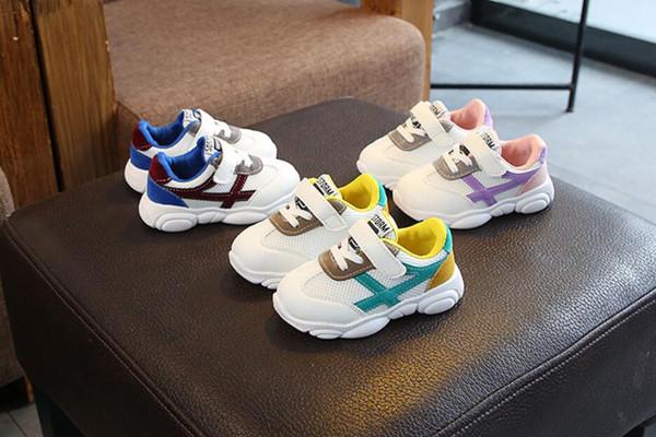 Bahar 2019 yeni yavrularını çocuk ayakkabıları çocuk net bez sneakers erkek ve kız bebek baba ayakkabı toptan