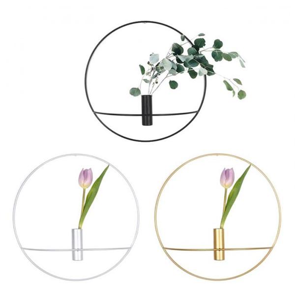 Circle Candle Holder Wall Mounted Europe 3D Metal Candlestick Geometric Tea Light Home Decor Crafts Wedding Decoration 19/29cm