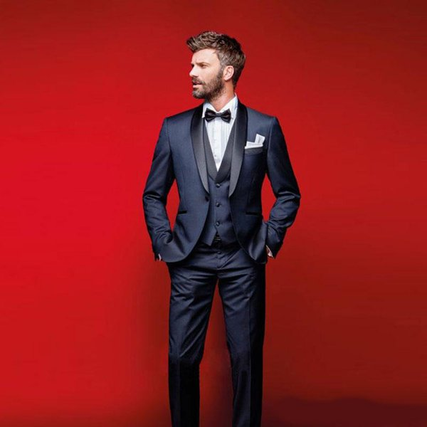 aded36daf05e76 Classy Navy Blue Wedding Tuxedos Slim Fit Suits For Men Groomsmen Suit  Three Pieces Cheap Prom