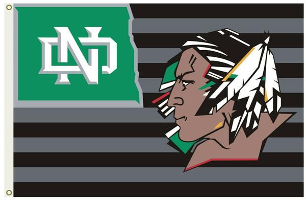 Drapeau du Dakota du Nord combattant le drapeau de l'Université et le drapeau de la bannière 150CM * 90CM polyester de bannière personnalisée, drapeau de sport