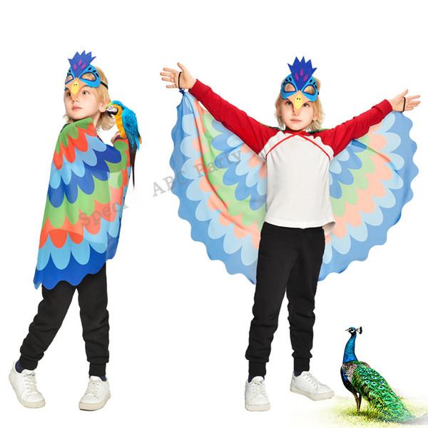 Bufanda de pavo real y máscara de pavo real Mantón brillante Belleza de la boda Espectáculo de danza de hadas para niños Traje de danza de Navidad para niñas Capa de niños