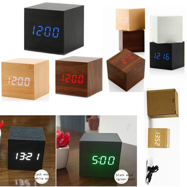 DHL Free Shipping Modern Wooden Wood Digital LED Desk Alarm Clock Thermometer Timer Calendar Red LED Digital Alarm Creative home decor gift