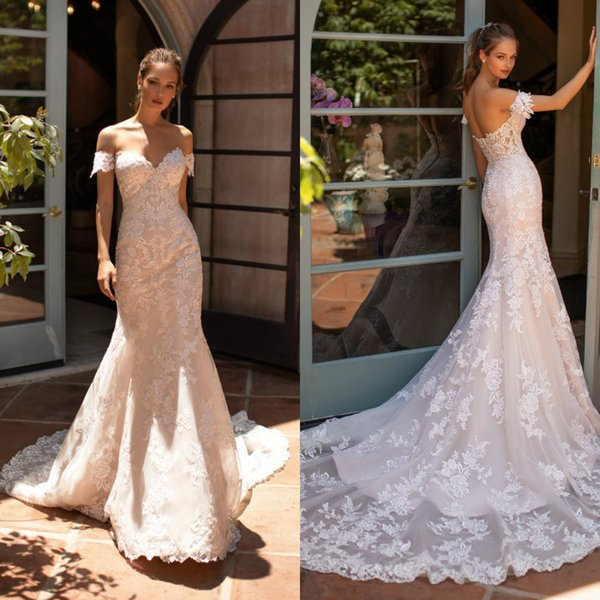 2020 Berta Mermaid Wedding Dresses Lace Appliqued Off Shoulder Sweep Train Vestido De Noiva Plus Size Beach Boho Wedding Dress Bridal Gowns