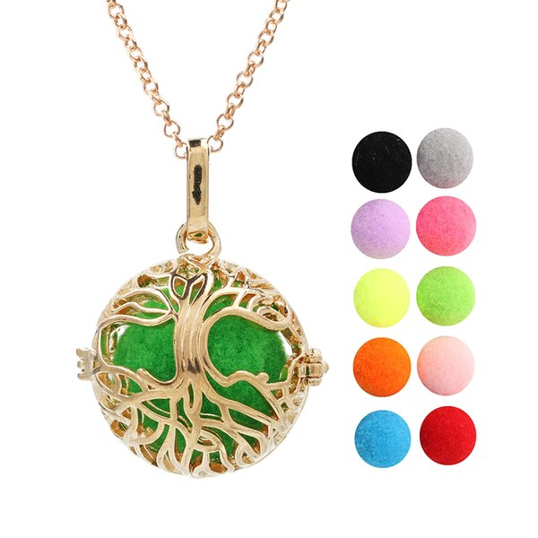 Gold Color Tree of Life Lava Beads Cage Essential Oil Locket Angel Bola Mexican Chime Ball Pendant Necklace for Charms Making