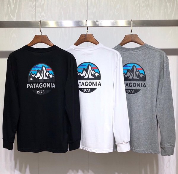 2019 Patagonia Montanha camisetas 19fw Designer Tops Homens New Outono Primavera Harajuku