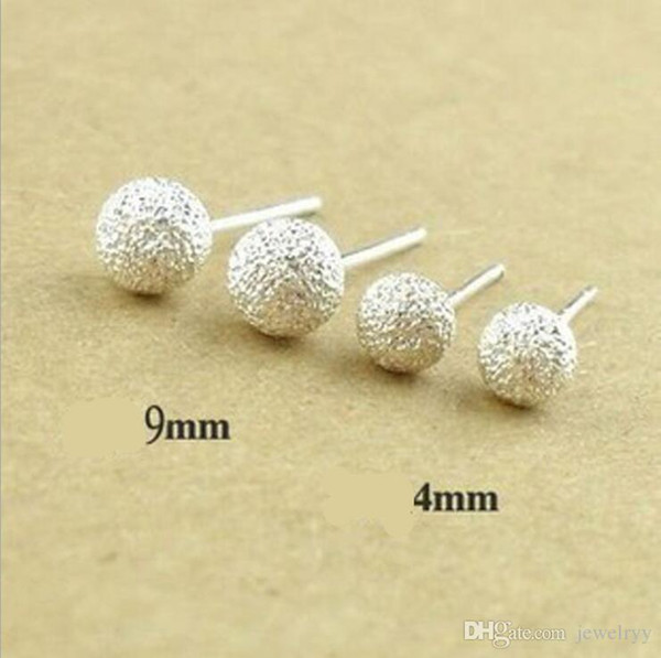 Simple Design Shinning Silver Ball Stud Frosted Earring Silvery Ear Accessories Women Fashion Jewelry for Wedding Party