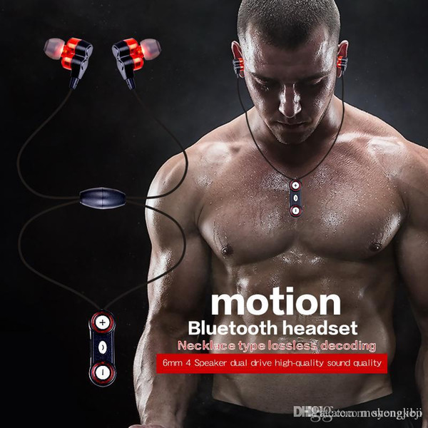 Sports Bluetooth Wireless earphone earphones earbuds Neckband headset Hifi Strong Bass Stereo Double 6mm Units For smartphone