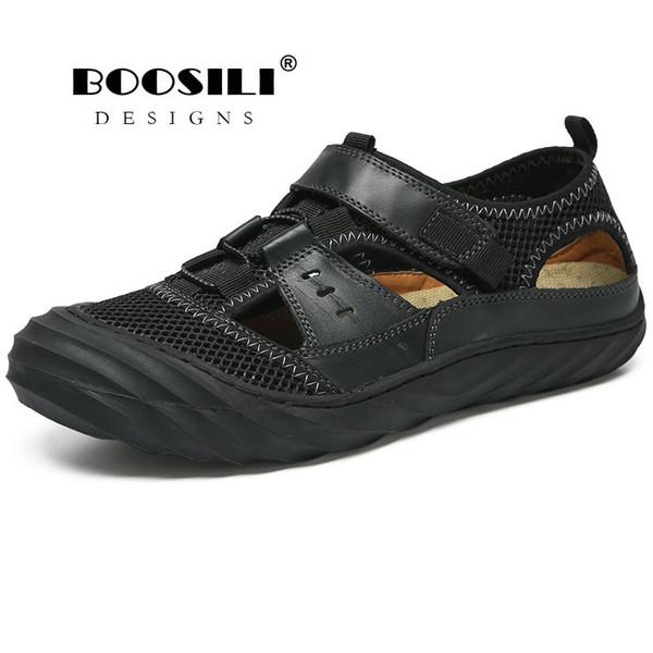 Erkek Deri Sandalet Gerçek Erkek Ayakkabı Boosili 2019 Yeni erkek Yüksek Kaliteli Nefes Bahar / yaz Sandalet Gelgit Erkek ayakkabı