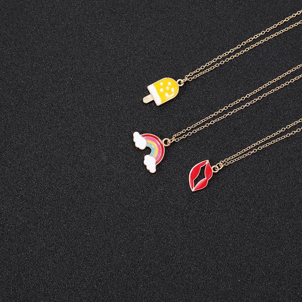 5PCS Cartoon Enamel Ice Cream Popsicle Necklace Colorful Rainbow Bridge Cloud Necklace Red Color Lip Chain Necklaces for Women jewelry