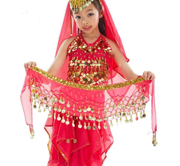 Großhandel Kind Größe Bauchtanz Hüfttuch Goldene Münze Chiffon Arabischen Gürtel Indien Dance Wrap Gürtel Rot