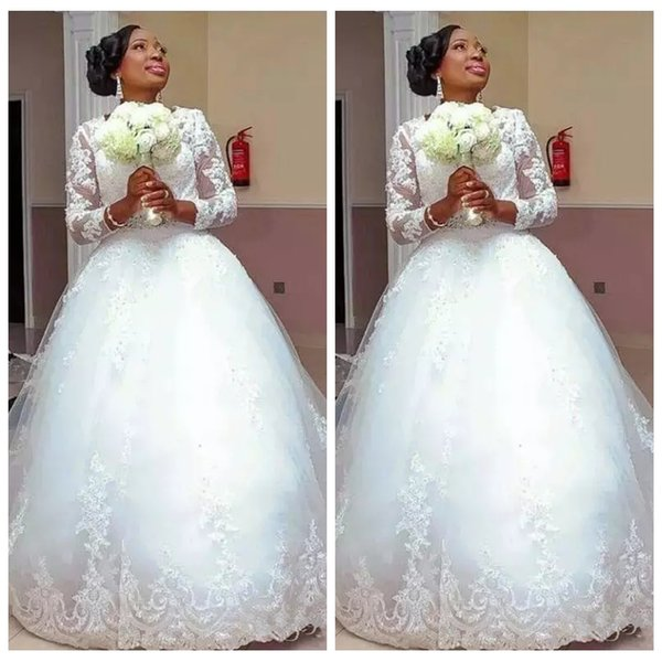 O-Neck Long Sleeves A-Line Wedding Dresses Lace Appliques Beading 2019 Bridal Gowns Formal Long Ladies Marriage Wedding Party Gowns Wear