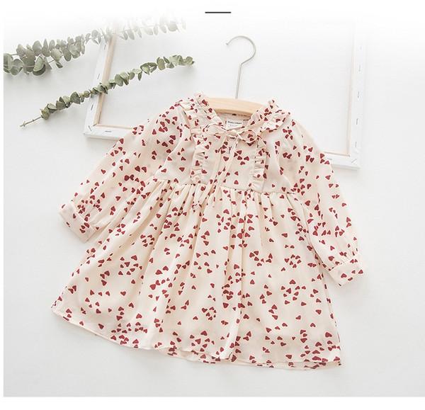 Niñas de gasa con volados vestidos de la impresión del corazón de Otoño 2019 niños tienda de ropa 1-7T de las niñas de manga larga vestidos de princesa dulce