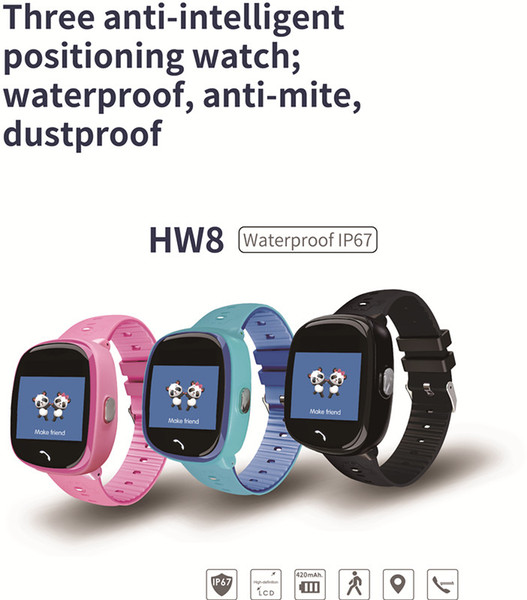 Kids Smartwatch Phone GPS Tracker SOS Call IP67 Waterproof Alarm Clock Smart Watch Voice Chat Wristband Children Birthday Gift HW8