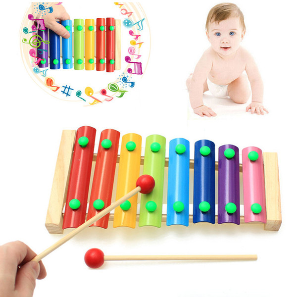 top popular 8 Notes Hand Knock Colorful Children's Musical Instruments Toy Wooden Frame Xylophone Baby Educational Developmental Wooden Toys Gifts 2021