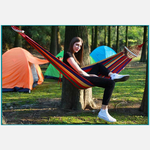 best selling DAODAO Outdoor Leisure Canvas Hammock With Curved Stick Anti-Rollover Hamak Widen & Thicken Camping Hamaca Send Rope Hamac Amaca