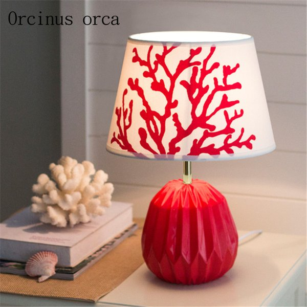 Mediterranean minimalist modern coral table lamp living room bedroom bedside lamp creative personality color table