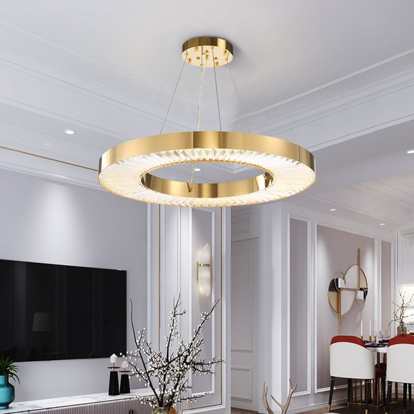 Acquista Youlaike Circle Lampadario A LED Illuminazione Soggiorno Oro  Moderno Cristallo Lampada Camera D\'acciaio Lucido Anello Lustres De Cristal  A ...