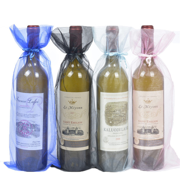 100pcs Organza Wine Bottle Bags Jewelry Gift Wedding Bags Pouch for Christmas Party Dedoration 15x38cm Red Wine Cover Wholesale