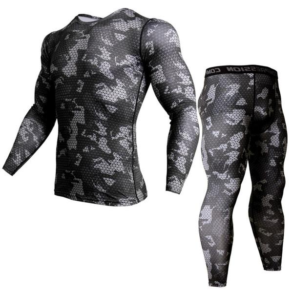 Compressão rápida Secagem Sportswear Terno Dos Homens Skinny T-shirt Leggings de Fitness Workout Rashguard Crossfit Masculino Tee Tops Calças Apertadas